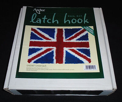 ANCHOR LATCH RUG HOOK UNION JACK. COMPLETE with HOOK & YARNS. CRAFT MAKING KIT