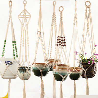 Macrame Hanging Flower Plant Pot Garden Jute Rope Basket Planter Hold Home Decor