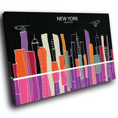 AB1305 Colourful New York Modern Abstract Canvas Wall Art Large Picture Prints