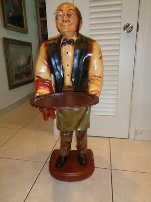 """Vintage Old Man Waiter/Butler Statue With Glasses Carrying Tray (38 by 22 by 14"""""""