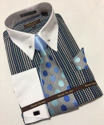 Men/'s HENRI PICARD BAR COLLAR French Cuff Dress Shirt Tie Hanky Cufflinks Set