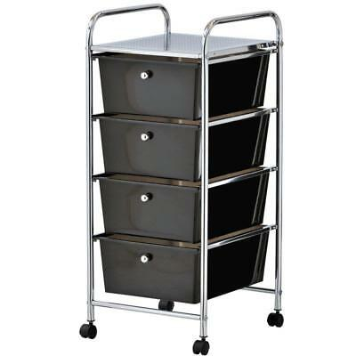 Vonhaus 4 Spacious Drawer Mobile Trolley - Black Plastic Home Office Storage
