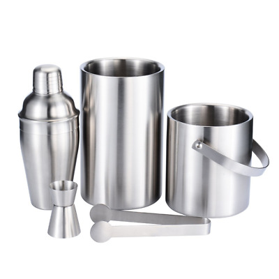 Stainless Steel Bar Set 5pacs Ice Bucket Double Wall Ice Buckets Cocktail Shaker