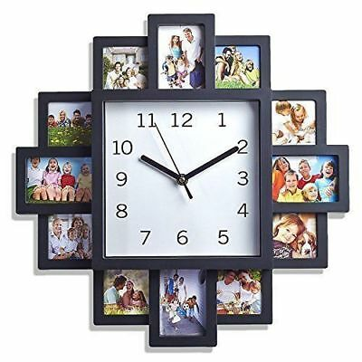 12 Picture Frame & Wall Clock Multi Aperture Modern Collage Family Photo Frame