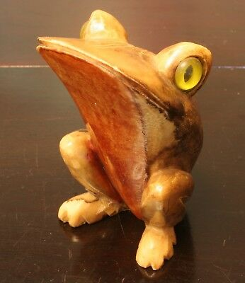 Vintage Di Lana Hand Carved Alabaster stone Frog Made in Italy.