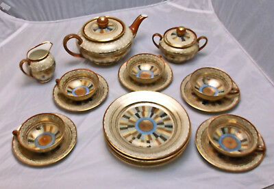 Vintage Kutani Japanese 1000 Thousand Faces 20 Pc Tea Set, Teapot Sugar & Cream