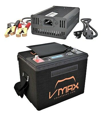 VMAX Lithium Iron 50AH 12V Battery + charger for 30LB boats and trolling motors