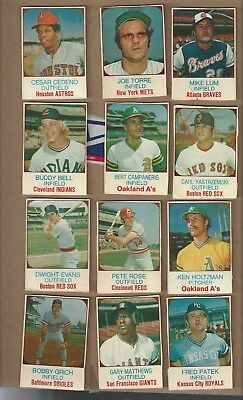 12 card lot of 1975 Hostess cards Yastrzemski,Rose,Torre,Cedeno,Grich,Evans,Bell