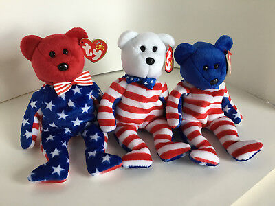 """TY Beanie Babies : SET OF 3 """"LiBEARty"""": 2000, Retired: MWMT: Ready for the 4th!!"""