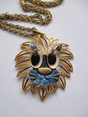 FANTASTIC Original 1970s Gold tone enamel articulated lion Pendant necklace VGC