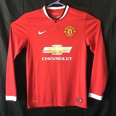 super popular 79e3a 4ecb4 NIKE DRI-FIT MANCHESTER UNITED Authentic Jersey Mens Small Red HOME  Chevrolet