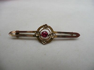 Super Antique 9Ct Gold Ruby & Seed Pearl Art Nouveau Bar Pin Brooch