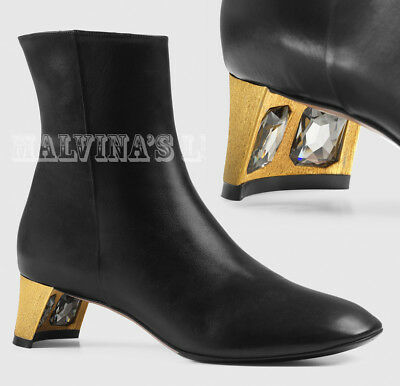 4146b846f6f GUCCI BLACK LEATHER Gold Studded Booties Size 39 - $515.00 | PicClick