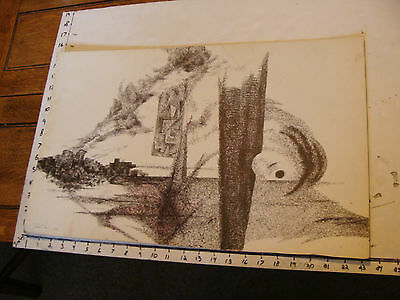 Vintage art by ROBERT MOIR: in pen--signed 1956 cityscape smoke abstract black