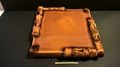 Vintage French glazed ceramic bamboo pot stand tray Creation A Ferlay Vallauris
