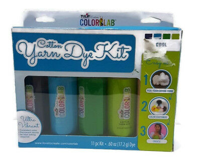 Tulip Color Lab Cotton Yarn Dye Kit Cool 11 Pc Kit New In Box