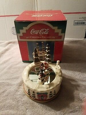 Coca Cola Brand Christmas Village Magnetic Motion Ice Rink wind up music box