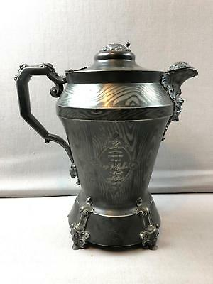 1854 Silver Plate Simpson Hall Figural Water Pitcher w Damascus Gothic Goat Face