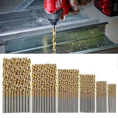 60pc HSS Metric Drill Bit Set Titanium Coated Twist Drills Metal Wood 1-3.5mm US