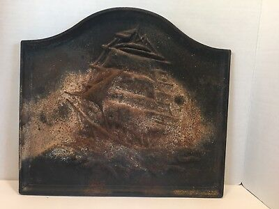 "ANTIQUE  SHIP CAST IRON FIREPLACE COVER / STOVE FURNACE PLAQUE-17 1/2""x16"""