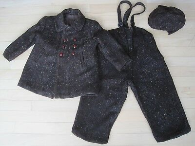 Vintage Fancy Winter Kids Outfit Jacket Pants Hat Quilted Lined Coat 20's Childs