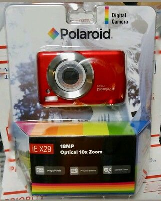 POLAROID iE X29 Digital Camera RED 18MP OPTICAL10X ZOOM Brand New CLAM PACK