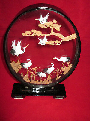 "Oriental Cork Carving Diorama Cranes Oval 14 1/2"" Tall 9"" Wide  9 1/4"" Base"