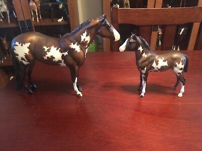 Breyer 1446 Overo Pinto Mare And Foal Lady Phase And Stock Horse Foal