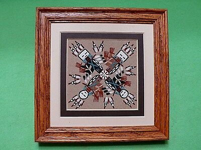 Vintage framed Native American NAVAJO Indian SAND ART PAINTING by Dobey.