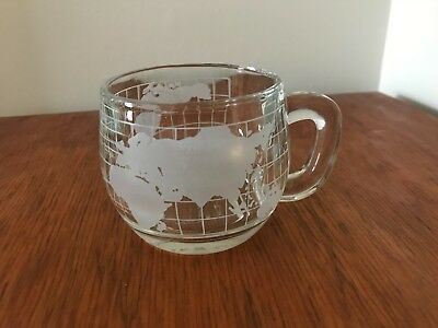 Nestle Vintage Clear Glass with White Frosted World Globe Map Mug Cup