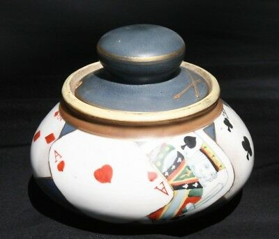 "Vintage HAND PAINTED NIPPON Porcelain Humidor ""Playing Cards"" Gambling"