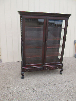 58866  Antique Mahogany 2 door Bookcase Curio with 2 drawers and Claw feet