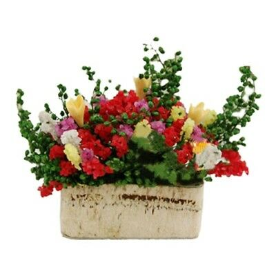 1/12 Dollhouse Miniature Multicolor Flower Bush With Wood Pot (Color: Multi Y8G8