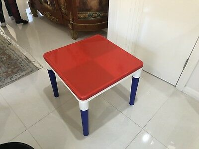 Kids Toddler Children Activity Playing Table for LEGO with a red cover on top.