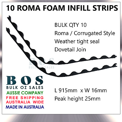 Bos | Roma Infill Strips - 10 Pack - Foam Corrugated Roofing Strip Weather Tight