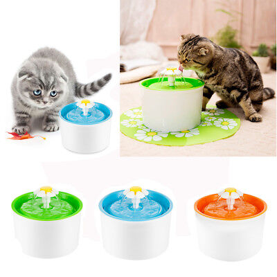 Automatic Pet Cat Dog Puppy Water Drinking Flower Fountain Feeder Bowl Dish