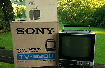 "Vintage Sony TV-920U Solid State Portable 8"" Television TV B&W Box and Manual"