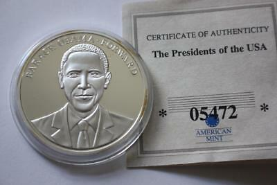 President Barack Obama Forward Commemorative Silver Plated Proof Coin Coa