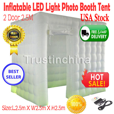 2 Door 2.5M Inflatable LED Light Photo Booth Tent Party Birthday Wedding 110V