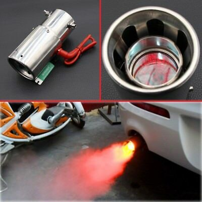Universal 30-63mm Car Elliptical Straight Spitfire Flaming LED Red Light Exhaust