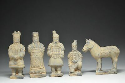 A Set Rare Old Collectible Chinese Vintage Terra Cotta Warriors Statues