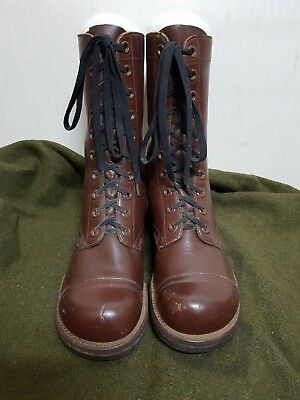 RARE 1940'S WW2 Vintage US Army Brown Leather Combat Boots Shoes Military Gear