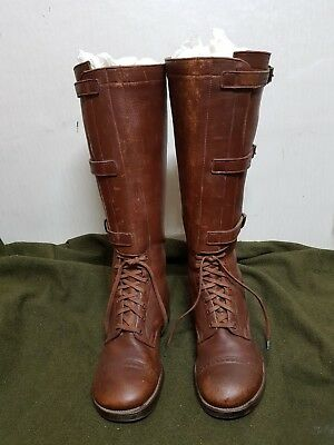 RARE WW2 US Army Officer Riding Horse Brown Leather Boots Shoes Military Gear