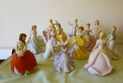 VINTAGE PORCELAIN LADY FIGURINES : SET of 12 FLOWER MAIDENS OF THE YEAR c1985