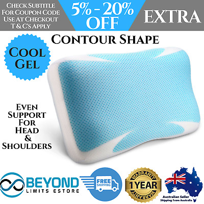 Pillow Bedding Memory Foam COOL GEL High Density Contour Support Bed Pillows