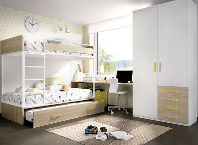 komplett kinderzimmer mit etagenbett leiter schubkasten kleiderschrank lounge eur. Black Bedroom Furniture Sets. Home Design Ideas