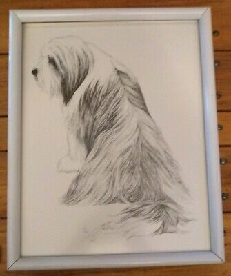 Lyn St. Clair Stubbs 1991 Signed &  Numbered FRAMED Old English Sheepdog Art