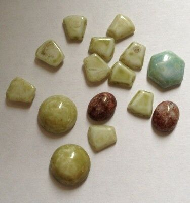 Job Lot - 15 Mixed Mottled Green & Brown Glass Cabochons