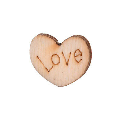 100 pcs Rustic Wooden Mini Love Heart Wood Wedding Craft Embellishment