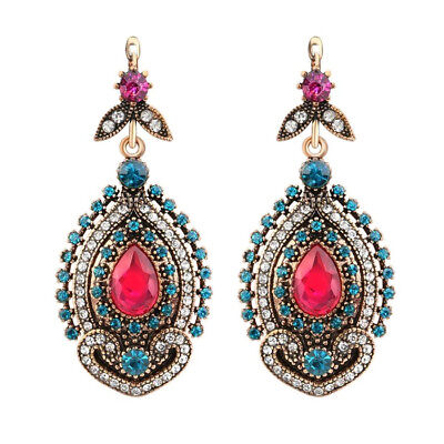 Women's Turkish Hurrem Style CZ Ruby Ancient Gold Plated Fashion Earring ER14